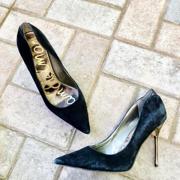 b3933a8c6 Sam Edelman Danielle suede pumps w  metallic heels